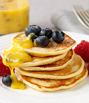 Scotch Pancakes, Berries and Passion fruit Curd