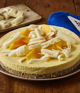 Mango + White Chocolate Cheesecake