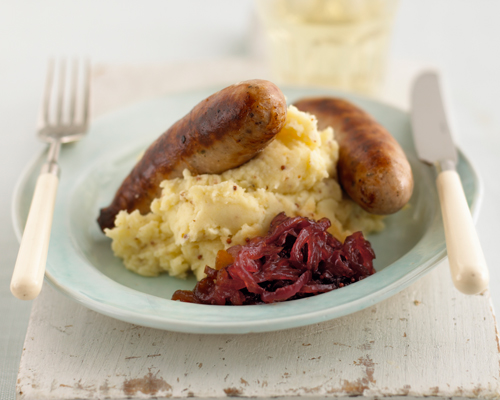 Sausage Mash With Red Onion Relish