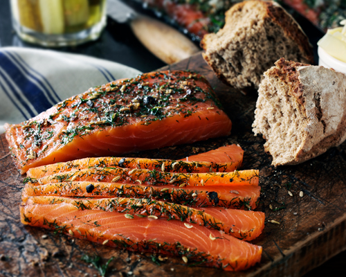 Golden Gin & Sugar-Cured Salmon