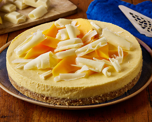 Mango and White Chocolate No Bake Cheesecake