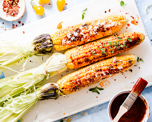 Grilled Corn on the Cob with Easy BBQ Sauce